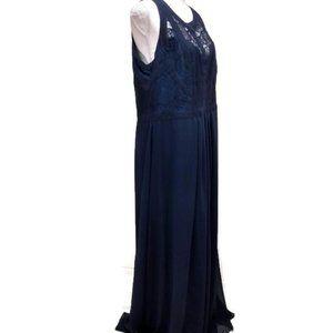 City Chic Womens Plus 16 Navy Blue Sleeveless Maxi